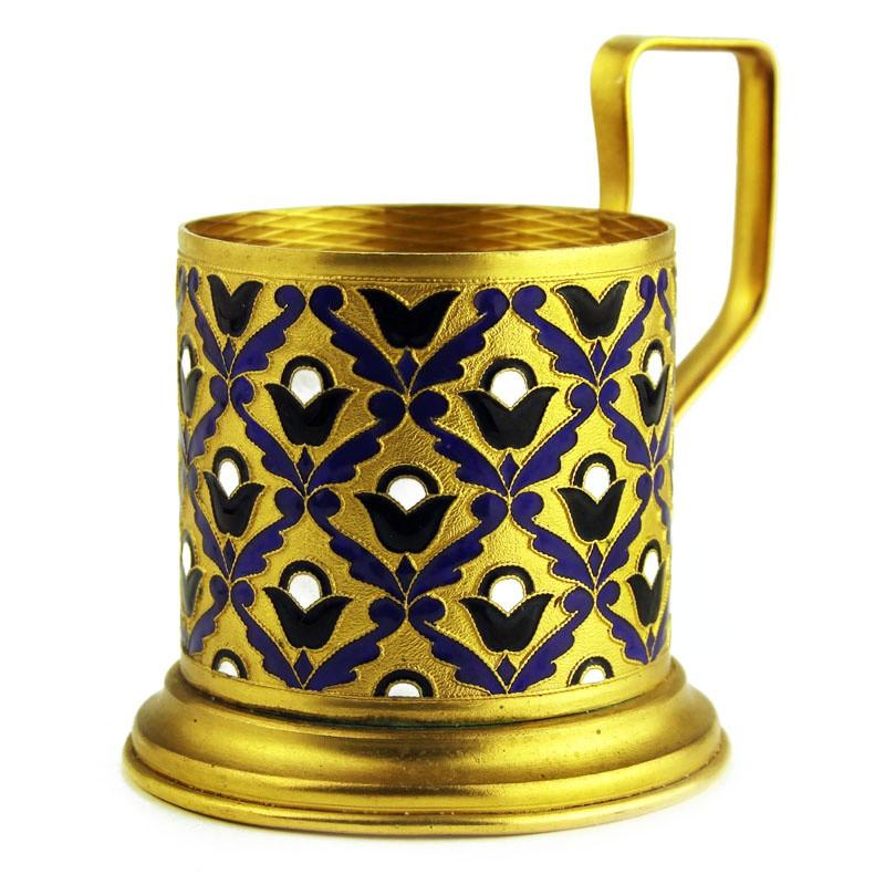 Подстаканник эмалевый «Темно фиолетовый декор»