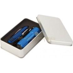 Набор из многофункционального ножа и фонарика (цвет: синий)