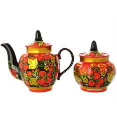 Чайный сервиз на 6 персон с росписью Клубника двойной фон