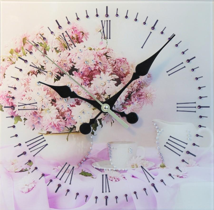Настенные часы с кристаллами Swarovski Хризантемы