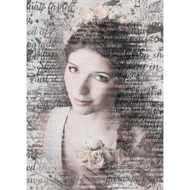 Портрет по фотографии из слов на холсте