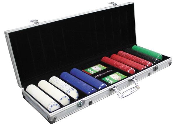 Набор для покера в алюминиевом кейсе, 500 фишек
