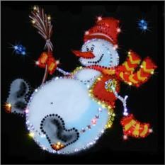 Картина с кристаллами Сваровски Снеговик