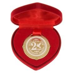 Медаль Бумажная свадьба. 2 года в корбке в форме сердца
