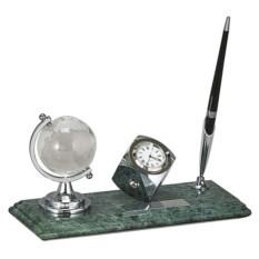 Мраморный настольный набор из глобуса, ручки и часов