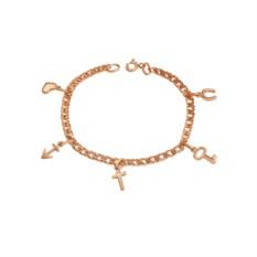 Позолоченный браслет в виде цепочки с подвесками