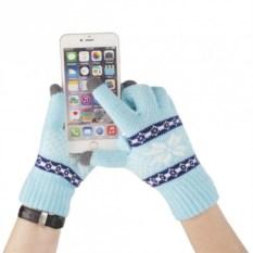 Голубые сенсорные перчатки Снежинки