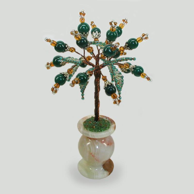 Нефритовое дерево из камней нефрита в вазочке из оникса
