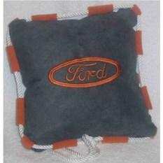 Темно-серая подушка со шнуром и оранжевой вышивкой Ford