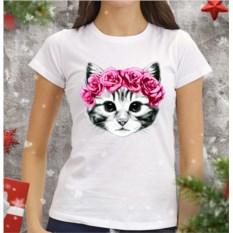 Женская футболка Котенок и розы