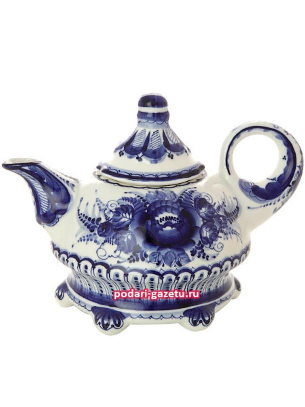 Чайник Гжель заварочный керамический с росписью Шатер
