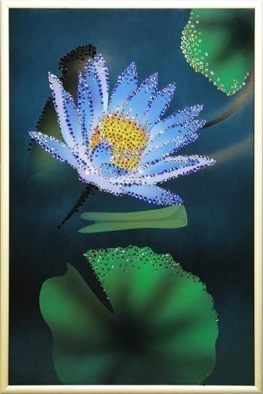 Картина Swarovski Лотос голубой, 20х30 см, кристаллов 560