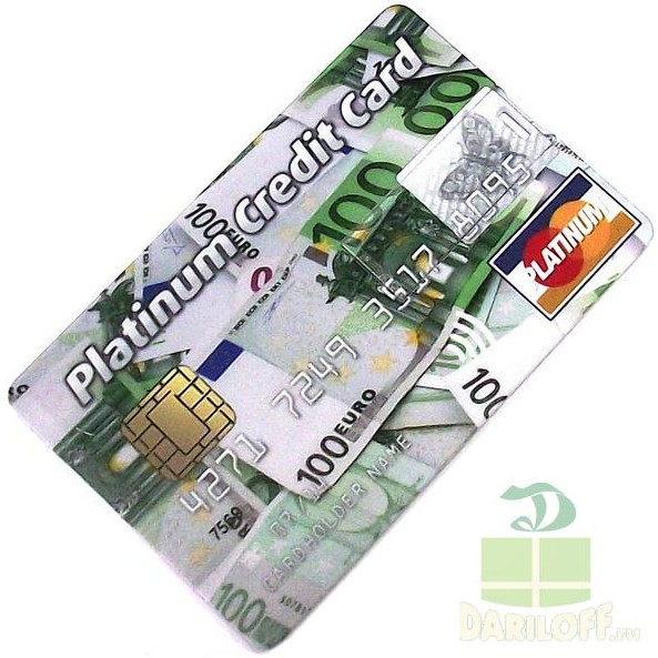 Флешка кредитка Platinum Credit Card 4Gb евро