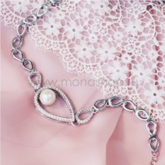 Браслет с родием «Невесомость» с жемчугом и кристаллами