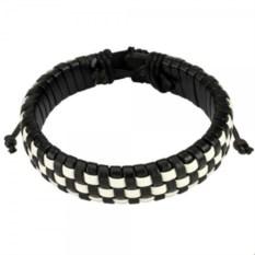 Черно-белый браслет из кожи Spikes
