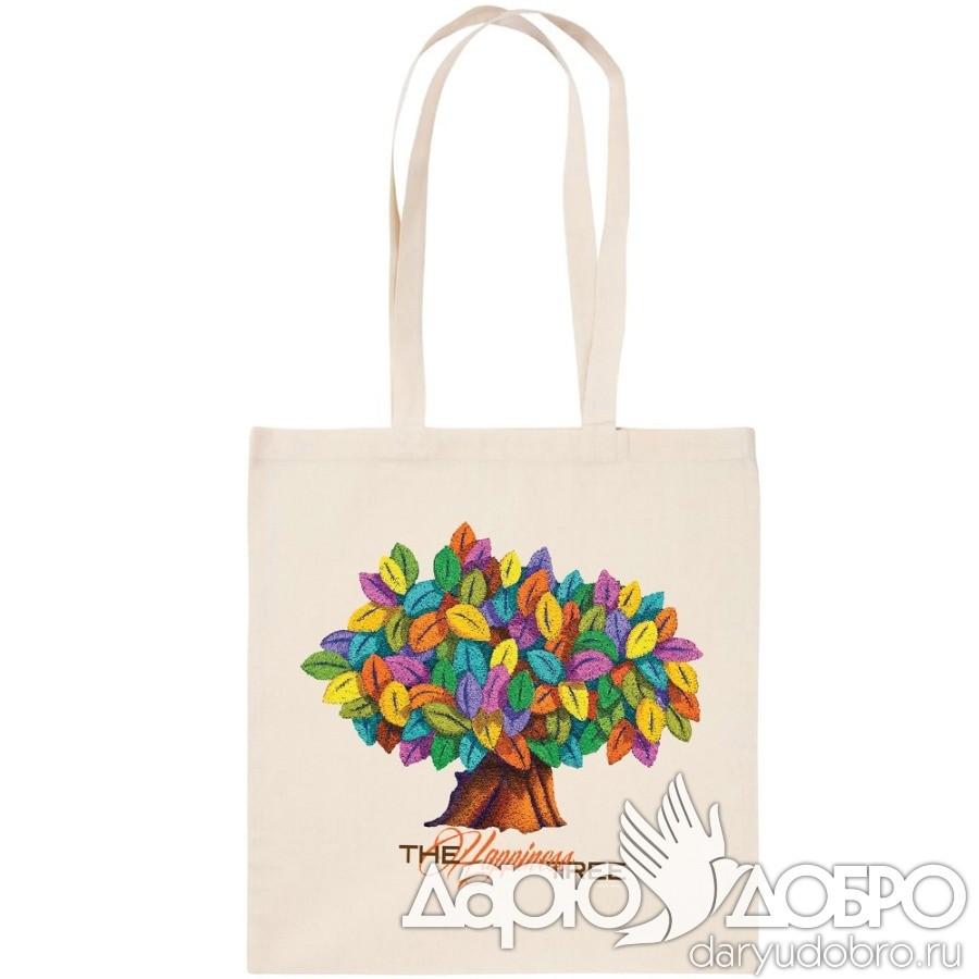 Холщовая эко-сумка Дерево Счастья