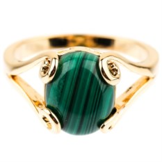 Позолоченное кольцо с малахитом Тауриэль