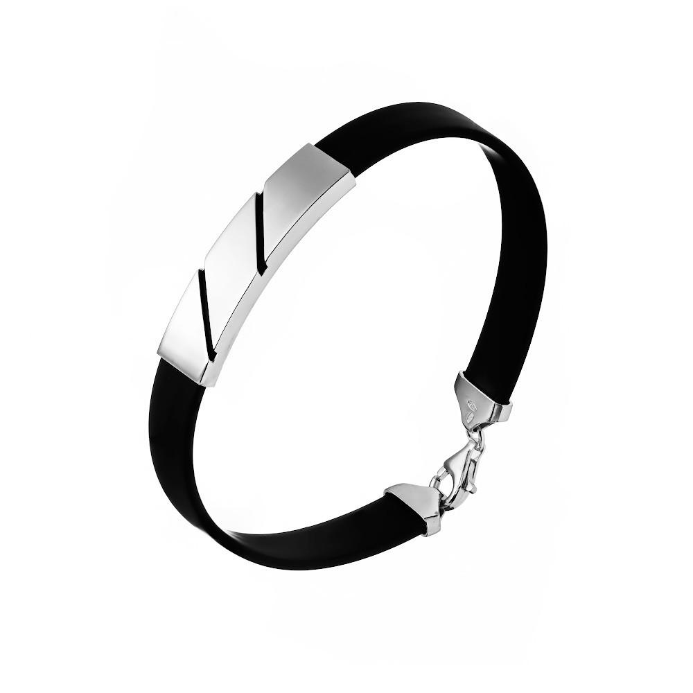 Мужской каучуковый браслет с планкой из серебра
