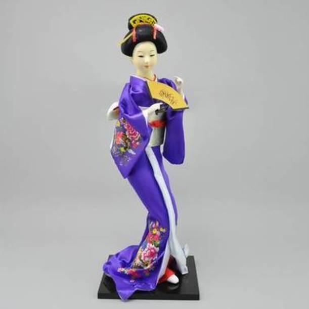Статуэтка Гейша с веером в сиреневое кимоно
