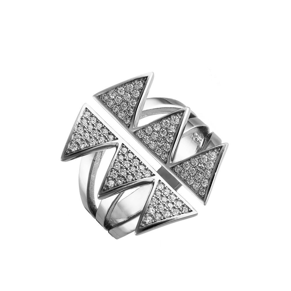 Широкое фаланговое кольцо в форме колючек, с фианитами