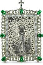 Настольная серебряная икона с образом святой блаженной Ксении Петербургской