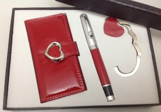 Подарочный набор: ручка, ключница, держатель для сумки
