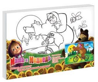 Роспись по холсту Маша и цирковой медведь