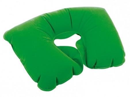 Зелёная надувная подушка под голову в чехле