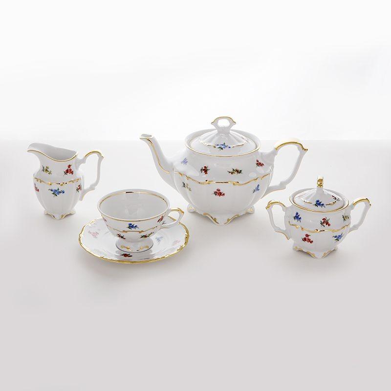 Чайный фарфоровый сервиз Блюмен из 15 предметов, 6 персон