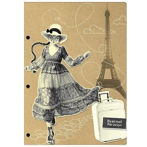 Обложка для паспорта Девушка-кошка в Париже