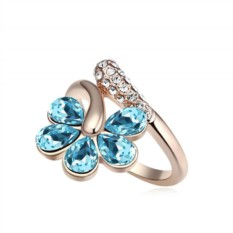 Кольцо «Цветочная лоза» с голубыми кристаллами Сваровски