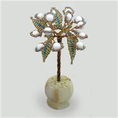 Миниатюрное дерево счастья из селината в вазочке из оникса