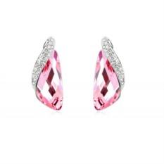 Розовые серьги с инкрустированной вставкой Кристаллы