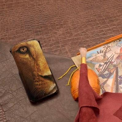 Кожаный чехол-флип для iPhone 6S/6 с рисунком Глаза льва