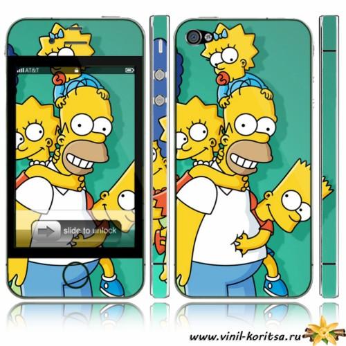 Наклейка на iPhone 4 «Симпсоны»