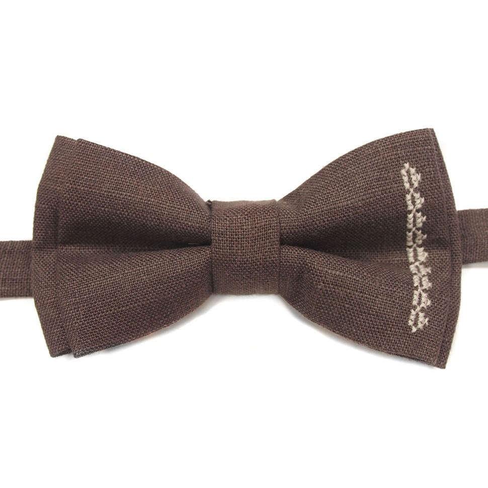 Коричневый галстук-бабочка под рубашку