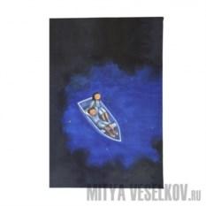 Обложка для паспорта Влюбленные в лодке ночью
