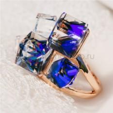 Кольцо с синими кристаллами Сваровски Миражи