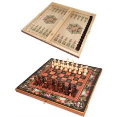 Деревянный набор 3 в 1 Цветы: шахматы, шашки, нарды
