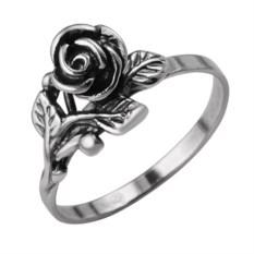 Кольцо из серебра с оксидированием в виде розы с листьями