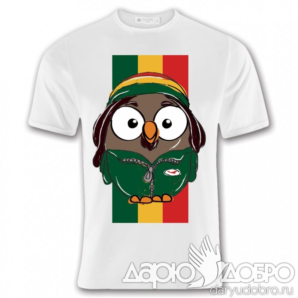 Мужская футболка с совой Боб с флагом