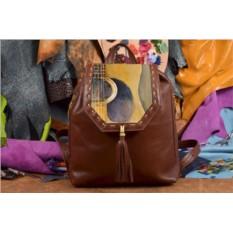 Коричневый кожаный рюкзак с принтом Гитара