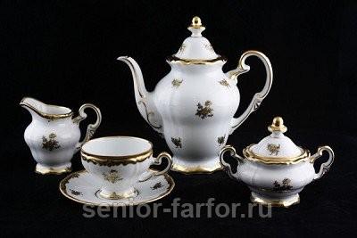 Кофейный сервиз Weimar Porzellan (Роза золотая) на 12 персон