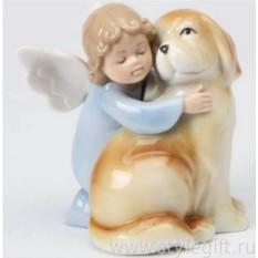 Фарфоровая фигурка Ангел с собачкой