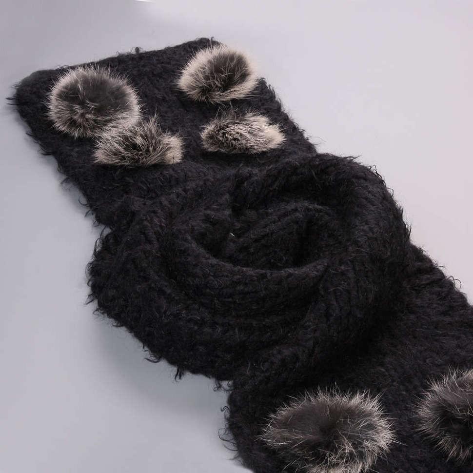 Черный зимний шарф с помпонами из меха кролика