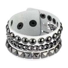 Белый кожаный браслет с заклепками из стали Spikes