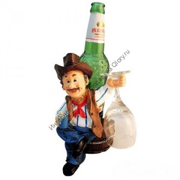 Подставка под бутылку с бокалом