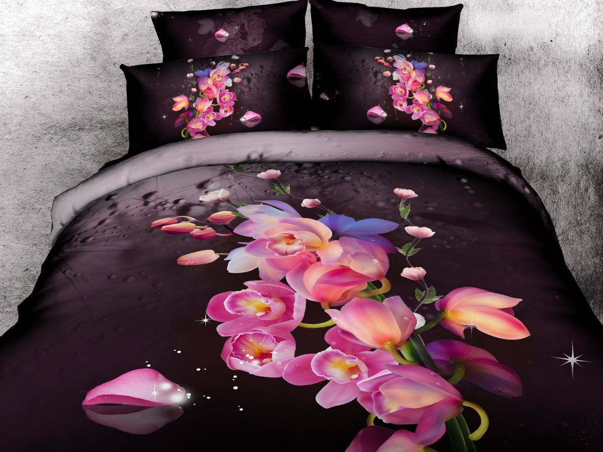 Евро комплект постельного белья 3D «Ночная роза»