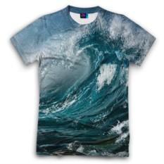 Мужская футболка 3D с полной запечаткой Волна