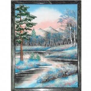 Картина из каменной крошки на камне Волшебные зимние горы